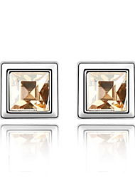 Meet At Corner Stud Earring Plated with 18K True Platinum Crystal Golden Shadow Crystallized Austrian Crystal Stones