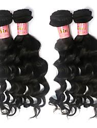 """3 / Los 8 """"-34"""" unverarbeitete malaysischen reinen Haares natürliche schwarze Farbe natürlichen Gewebe Haarverlängerung."""