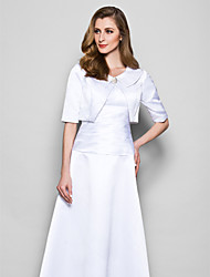 Women's Wrap Shrugs Half-Sleeve Satin White Wedding / Party/Evening Scoop Button Open Front