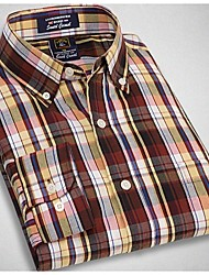 U&Shark New Hot! Men's Soft Business 100% Cotton Long Sleeve Shirt with Yellow Black Check/tmm001