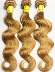 3pcs / lot melhor onda trama mel corpo cabelo loiro virgens brasileiras extensões de cabelo humano 8 '' - 34 ''