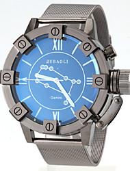 reloj de pulsera de cuarzo de banda de acero negro patrón de géminis de los hombres