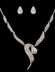 Gorgeous Alloy With Imitation Pearl/ Crystal Wedding Bridal Jewelry Set Including Necklace And Earrings