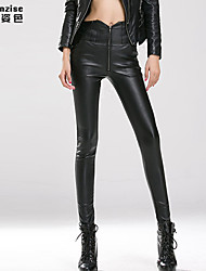 Women's Slim Waist PU Leather Pants