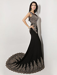 Formal Evening Dress Trumpet / Mermaid Scoop Sweep / Brush Train Spandex with Crystal Detailing