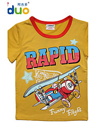 Ajiduo 1-6Y Kids Boys' Airplane Letters Printed Summer Short Sleeve Pure Cotton Tees