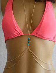 Bikini Body Chain, Fashion Turquoise  Waist Chain Necklace  Bikini Polygon, Sexy Body Chain,  Body Jewelry Belly Chain