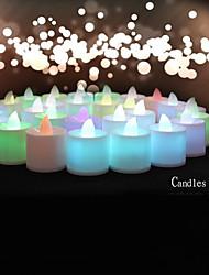 mariage décor 24pcs couleur changeante sans flamme conduit bougies chauffe-plat lumière de batterie pour la décoration de fête d'anniversaire