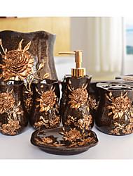 The Bloom Flower Pattern Bathroom Ware 5 Sets/Black