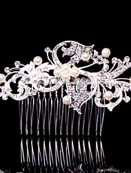 Alloy Hair Combs With Imitation Pearl/Rhinestone Headpiece