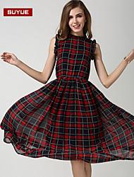vestido maxi de impresión de las mujeres suyue® clásico de la vendimia sin mangas de la moda