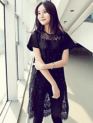 Women's Inelastic Short Sleeve Knee-length Dress