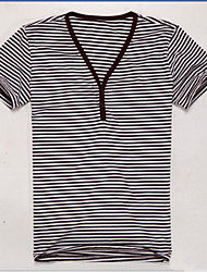 U&Shark Men's Fine Cotton Short Sleeve T- Shirt withV Collar and  Grey Stripe /TX1018