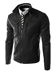 Men's Stand Coats & Jackets , PU Long Sleeve Casual Pocket Winter / Fall NEWJOGAL
