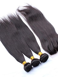 4PCS Malaysian Uprocessed Human Hair Straight Lace Closure with Bundles Natural Black Hair
