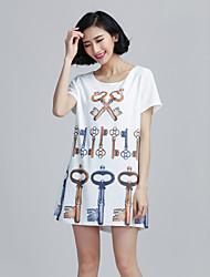 Tee-shirt Aux femmes Manches Courtes Elastique/Mélanges de Coton