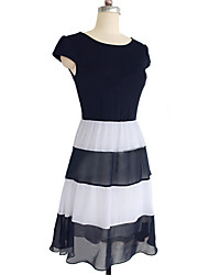 Women's Stripes Splicing Chiffon Short-sleeved Dress