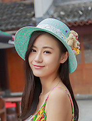 Women Vintage/Cute/Party/Casual Summer Lovely Bears Straw Floppy Hat