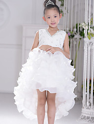 Ball Gown Asymmetrical Flower Girl Dress - Organza Sleeveless V-neck with