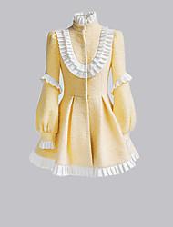 lange mouw korte gele wollen sweet lolita jas