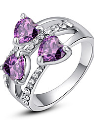 T&C Women's Exquisite Triple Heart Sapphire Fashion Ring 18K White Gold Plated Shining Purple Austria Crystal Jewelry