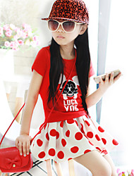 Girl's Fashion Medium Short Sleeve Dresses (Cotton)