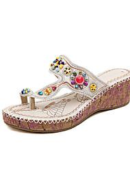 Keilabsatz - 3-6cm - Damenschuhe - Sandalen ( PU , Weiß )