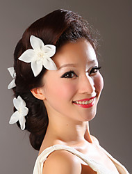 Women Satin White Flowers With Wedding/Party Headpiece