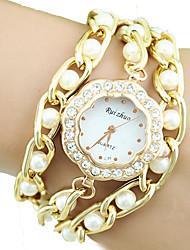 European Style Fashion High-grade Fine Handmade Pearl Rhinestone Bead Weave Plum Flowers Wrapped Bracelet Watch