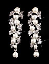 Damen Ohrring Silber/Perle/Legierung Kristall Ohrringe aus Kronleuchter