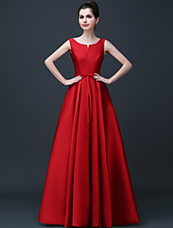 Formal Evening Dress - Open Back A-line Scoop Floor-length Satin with Sash / Ribbon Pleats
