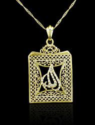 18K plaqué or véritable allah musulman pendentif zircon 4,7 * 3.2cm