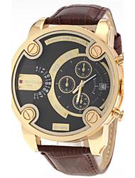 Men's Dual Time Zones Gold Case Leather Band Quartz Wrist Watch