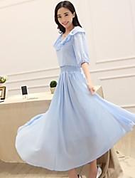 Women's Cute Ruffles Princess Dress White Blue Elegant Half Sleeve Long Chiffon Dresses