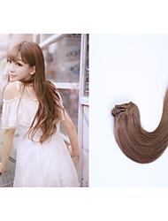 7pcs / lot 28inch / 70cm 150g / pack mehrere Farboptionen gerade Clip in Haarverlängerung grade5a Menschenhaarverlängerung