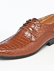 Men's Shoes Wedding/Office & Career/Party & Evening Leather Oxfords Brown/White