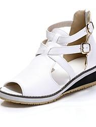 Zapatos de mujer - Tacón Bajo - Punta Abierta / Comfort - Sandalias - Oficina y Trabajo / Vestido - Semicuero - Negro / Blanco