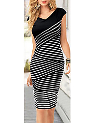 MAKE Women's Striped Black Dresses , Vintage / Sexy / Bodycon / Party / Work V-Neck Sleeveless