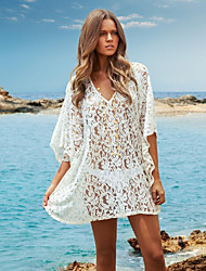 Women's White Lace Hollow Crochet Bikini Dress