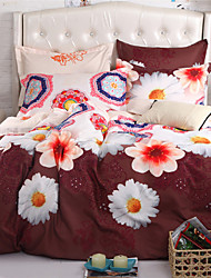 Mingjie White Chrysanthemum Coffe 6D Bedding Sets 4PCS Queen Size and Full Size Bed Linen China Duvert Cover Sets