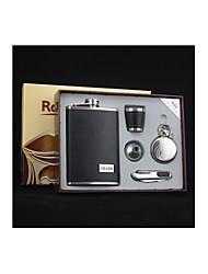 cadeau personnalisé groomsman qualité 5 pièces en acier inoxydable de 9 oz cadeau flacon ensemble