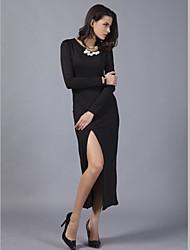 Women's V-neck Solid Color Bodycon Split Thigh Party Maxi Dress