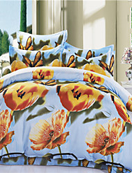 Mingjie Yellow Flowes and Butterfly Blue 3D Bedding Sets Queen Size Bed Linen Duvert Cover Sets