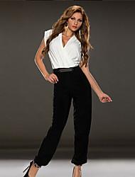 Diyaxuan Women's Vintage/Sexy Short Sleeve Jumpsuit (Cotton)