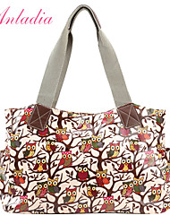 Anladia Ladies Owl Pattern Oilcloth Cotton PU Leather Large Shoulder Bag Tote