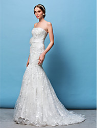 Lanting Fit & Flare Wedding Dress - White Court Train Strapless Lace