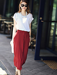 Women's Casual Contrast Color Short Sleeve Set(Blouse + Skirt)