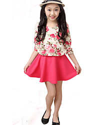 Girl's Fashion Round Neck Flower Print Long Sleeve Dress