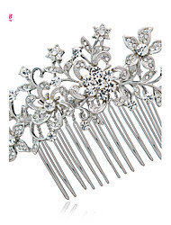 Neoglory Jewelry Flower Hair Combs Wedding Accessories with Clear Rhinestone and Alloy