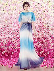 Homecoming TS Couture® Formal Evening Dress - Fuchsia / Ocean Blue Sheath/Column Scoop Floor-length Velet Chiffon